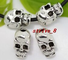 10/40/200pcs Tibetan Silver two-sided Skull Jewelry Charms Spacer Beads 10x6mm