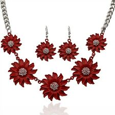 Silver Plated Statement Flower Necklace Earring Wedding Bridal Jewerly Set Women