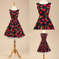 Vintage Retro 1950's 60s Rockabilly Housewife Swing Pinup strawberry Party Dress