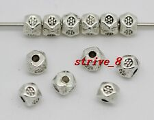 50/200/1000pcs Antique Silver Dice Beads Jewlery Charms Spacer Beads DIY 4x4mm