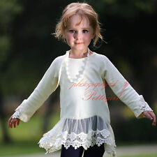 Girl's White Flower Lace T-shirt With Necklace Kids Cotton Casual Tops Blouse