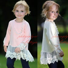 Girls Autumn T-shirt Flower Lace Tulle Tops With Necklace Cotton Casual Clothes