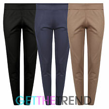 Womens New Casual Plain Tapered Trousers Ladies Skinny Fit Pants Trousers 10-18