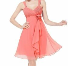 Elegant Women's Empire Waist Ruched Bust Chiffon Cocktail Dress Red Coral, 12 US