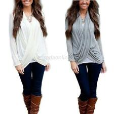 Sexy Women's V-neck Solid Long Sleeve Top Cross Front Twist Loose Blouse S-XL