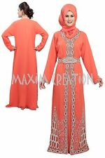 DUBAI CAFTAN GEORGETTE  FANCY ARABIAN ISLAMIC ELEGANT WEDDING DRESS  5170