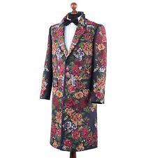 DOLCE & GABBANA RUNWAY Baroque Floral Embroidery Coat Black 03766