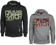MENS HOODED TOP CROSSHATCH IN BLACK & GREY MARL COLOURS S TO M RRP £29.99