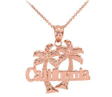 Rose 10k Gold California Palm Tree Pendant Necklace