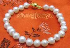 "SALE Small 6-7mm natural White freshwater Pearl 7.5"" bracelet -bra233"