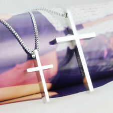 New Style Stainless Steel Cross Pendant Mens Women Couple Lover Necklace Gift
