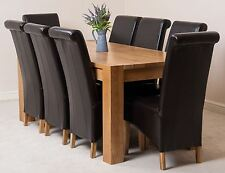 Kuba Solid Oak 180cm Dining Room Kitchen Table & 8 Brown Leather Montana Chairs
