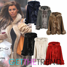 Womens Fur Lined Knitted Hooded Cape Ladies Celeb Inspired Faux Fur Jacket