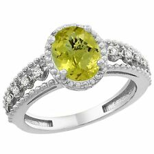 10k White Gold Natural Oval Cut Lemon Quartz Ring w/ Floating Diamond Accents