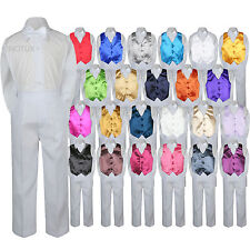 23 Color Vest White Bow Tie Pants Boy Baby Toddler Formal Tuxedo Suit 4pc sz S-7