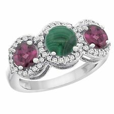 10k White/Yellow Gold Natural Diamond, Malachite & Rhodolite 3-stone Ring, 8mm