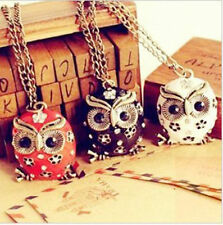 Women Charm Retro Crystal Rhinestone Owl Pendant Sweater Chain long Necklace