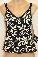 NWT Miraclesuit Swimsuit Play on Malibu Tankini Top Black Gold