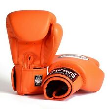 MUAY THAI KICK BOXING GLOVES TWINS SPECIAL MMA 8 10 12 14 16 18 OZ BGVL-3 ORANGE