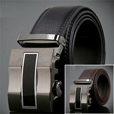 Fashion Genuine Mens Leather Busines Alloy Simple Automatic Buckle Waist Belt