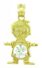 Fine Yellow Gold April Birthstone Crystal Clear Round CZ Baby Boy Charm Pendant