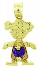 Yellow Gold February Birthstone Purple Amethyst Heart CZ Baby Girl Charm Pendant