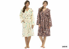 Ladies Woodland Print Housecoat Bath Robe Fleece Hooded Dressing Gown Size S-L