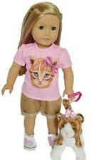 """Doll Clothes AG 18"""" Shorts Shirt Pink Kitten Made To Fit American Girl Dolls"""
