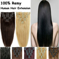 Deluxe Clip in 100% Real Remy Human Hair Extensions Full Head Special Offer AU