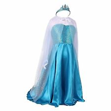 Girl Frozen Dress Snowflake Anna Elsa Princess Halloween Party Costume and Crown