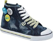 New Girls Pineapple Blue Denim Scream Hi Trainers size 3