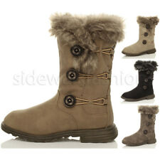 WOMENS LADIES FLAT WINTER SNOW CALF FUR LINED ELASTIC BUTTON BOOTS SIZE