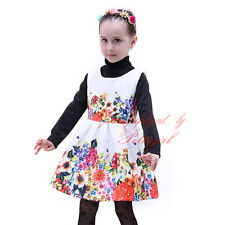 Girls Floral Dress Flower Print Pageant Wedding Party Formal Communion Dresses