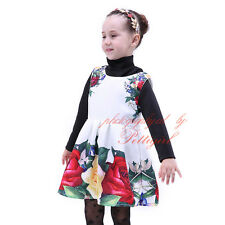 Baby Girl Floral Pageant Dress Rose Flower Autumn Holiday Princess Party Dresses