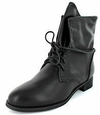 Ladies Spot on black pu wrap around-lace up ankle boot F50208