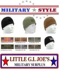 Military Tactical Polar Fleece Operators Watch Cap Hat & US Flag Patch #1
