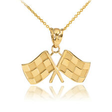 Fine 14k Gold Racing Checkered Flags Charm Finish Line!