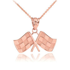 Fine 10k Rose Gold Racing Checkered Flags Charm Finish Line!