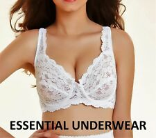 UNDER WIRED NON-PADDED LACE FULL CUP SUPPORT BRA, BLACK & WHITE,34 -44, B-DD
