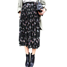 Woman Floral Prints Elastic Waist Fully Lined Chiffon Pleated Skirt