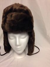 Nine West Faux Fur Aviator Trapper Hat One Size  #3697 Brown NWT