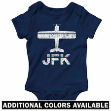 Fly JFK Airport One Piece - New York City Jet Baby Infant Creeper Romper NB-24M
