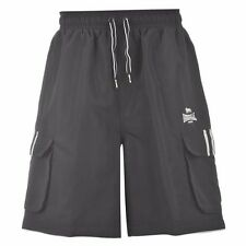 Lonsdale Mens 2 Stripe Cargo Shorts Black/White M L XL RRP $53.98 NEW!