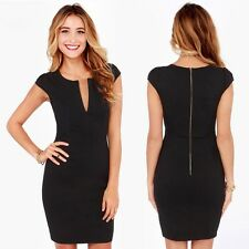 Elegant Office Dress Women Work Wear Sleeveless V-Neck Pencil Vestidos Black