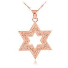 Solid 10k Rose Gold Fine Textured Star Of David Pendant Necklace