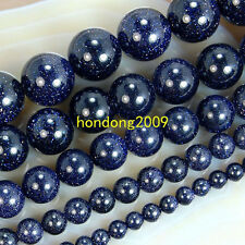 """Natural 4/6/8/10/12mm Blue Goldstone Round Loose Beads 15"""" Choose size"""