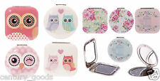 CUTE COMPACT, HANDBAG,PURSE, MAGNIFYING MIRROR IN SWEET OWL FLOWER CAGE DESIGN