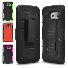 Shockproof Rubber Hybrid Case Cover Holster For Samsung Galaxy S6 Edge+ Plus