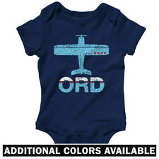 Fly ORD O'Hare Airport One Piece - Plane Chicago Pilot Baby Infant Romper NB-24M