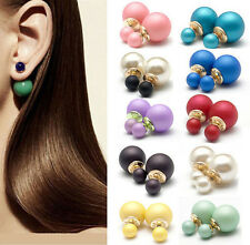 1Pair Fashion Women Big Small Double Faux Pearl Beads Ear Stud Earrings Jewelry